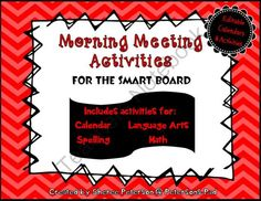 Morning Meeting Activities for the SMARTBOARD from Petersons Pad on TeachersNotebook.com -  (40 pages)  - This packet contains a variety of SMART BOARD slides for your morning meeting. There are activities for calendar, language arts, spelling, and math.