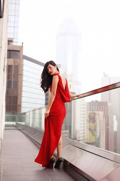 long red dress with draped back