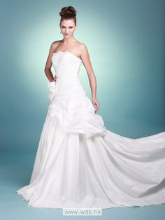 Strapless Taffeta Wedding Gown with Floral Details