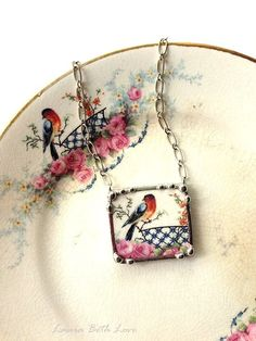 Broken china jewelry necklace sweet robin with pink roses vintage broken china