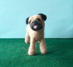 PUG    needle felted dog by makingstuffwithlove on Etsy, $30.00