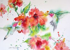hummingbird watercolor painting signed giclee by JaniceTraneJones, $45.00