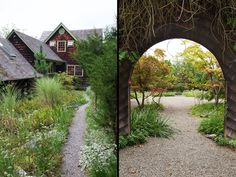 The home was originally part of a barn complex built in the 1920s. It was renovated in the 1970s and again in the winter of 2009, right before the couple moved in. Winding gravel paths lined with lush natural landscaping create picturesque passageways through the grounds.