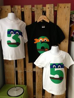 Leonardo, Blue Mask TMNT Teenage Mutant Ninja Turtles Birthday Shirt. Available in any number. Four, Five, Six, etc.. $19.00, via Etsy.