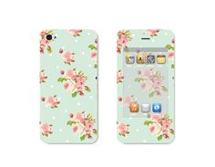 Pastel Pink and Mint Green Floral iPhone 4S Skin Mint by fieldtrip on Etsy
