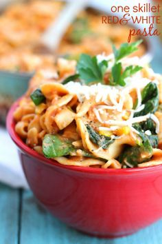 One-Skillet Red and White Pasta with Spinach.