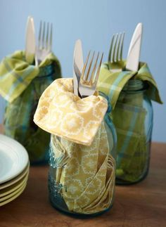 DIY idea for parties: Napkin and silverware look great tucked in a jar meant to be the drinking vessel. More ideas for Mason jars: http://www.midwestliving.com/homes/decorating-ideas/15-ways-to-use-mason-jars/ blue mason jars, diy ideas, mason jar uses, decorating ideas, outdoor parties, drink stations, napkin, bar drinks, picnic