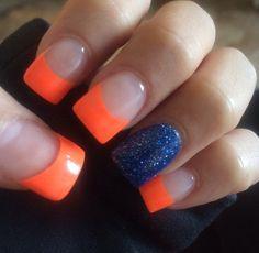 Denver bronco nails!!!!