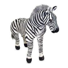 What's black and white and loved on every continent? A zebra, of course! Nearly 3' tall and over 3' long, this beautifully constructed and detailed zebra has dramatic markings, an affectionate expression and a fuzzy mane. http://www.my-linker.com/hop/plushzebra