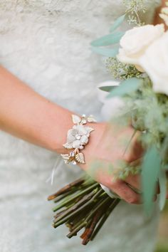 yummy bracelet from BHLDN - photo by http://www.ashleighjayne.com - http://ruffledblog.com/green-autumn-wedding-inspiration/