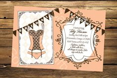 Oooh La La Lingerie Bridal Shower Invitation, Digital or Printed. $15.00, via Etsy.
