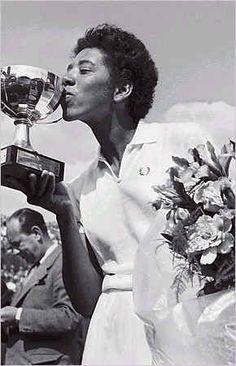 Althea Gibson, first African-American woman to win Wimbledon.