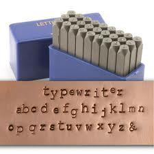 Lowercase typewriter courier font - Metal Stamp Set