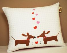 Wiener Dog Dachshund Pillow - Doxies in Love Wedding Anniversary Pillow