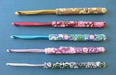 The Most Beautiful Crochet Hooks Ever ... Fimo handles ... gorgeous flowers and colors ...
