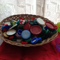EY2P training  ... Raising Attainment in Maths in Nursery... Bottle Tops ... a free resource and so many uses... matching, counting, sorting for colour size material thickness etc! great for using outside too! LH