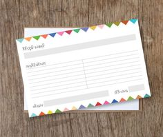 free printable recipe cards!