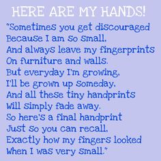 HERE ARE MY HANDS - Poem -- using for fathers day gift
