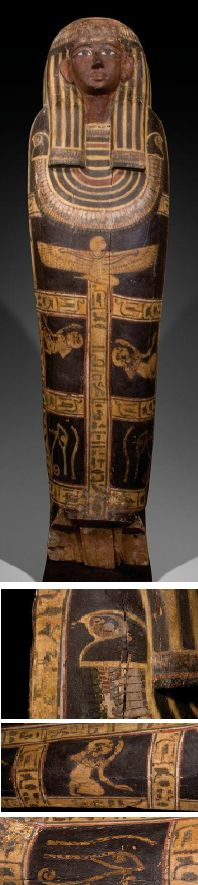 EGYPTIAN NEW KINGDOM WOOD ANTHROPOID COFFIN LID . XVIIIth Dynasty, reign of Amenhotep III, ca. 1386-1349 BC.