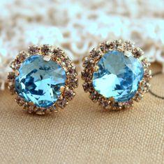 Blue aqua Crystal stud Petite vintage earring  14k by iloniti, $41.00