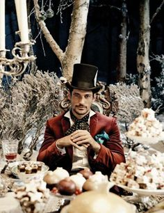 David Gandy as Mad Hatter time, glass project, fairi tale