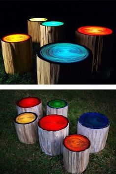 Cool beans!! You paint the longs glow in the dark on top and let them sit in the sun all day and there you have it!!