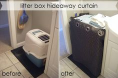 Love: hiding the litter box behind a curtain.  Ours is under the counter so should be very simple...