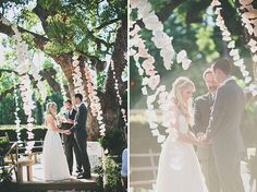 wedding ceremonies, paper garlands, diy wedding decorations, hanging flowers, paper flowers, ceremony decorations, tree branches, coffee filters, backdrop