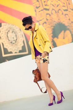 Amarelo+roxo - perfect colorblocking!
