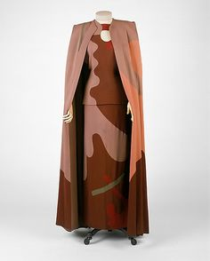 Cubism inspired vintage 1945 Gilbert Adrian dress and cape Ensemble, Evening