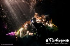 The Merlesque mermaids meet a scuba diver on one of their underwater adventures! Lovely underwater photography by Vanessa Mills. Find out more about Merlesque or hire a mermaid at: http://www.realmermaids.co.uk