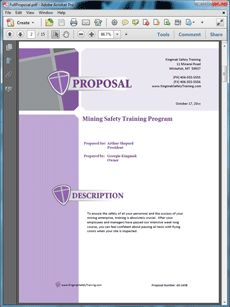 Mining Safety Sample Proposal - The Mining Safety Training Services Sample Proposal is an example of a proposal to offer services in the mining industry. Create your own custom proposal using the full version of this completed sample as a guide with any Proposal Pack. Hundreds of visual designs to pick from or brand with your own logo and colors. Available only from ProposalKit.com (come over, see this sample and Like our Facebook page to get a 20% discount)