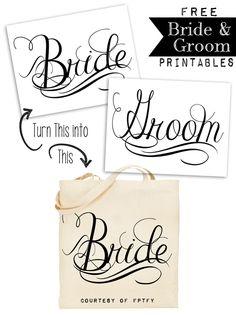 Free Calligraphy Bride and Groom Wedding Printables @penny shima glanz Douglas Pretty Things For You