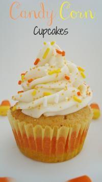 Candy Corn Cupcakes on MyRecipeMagic.com #cupcakes #candy #corn