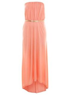 Coral Bandeau Dippy Hem Maxi - Midi & Maxi Dresses  - Dress Shop  - Miss Selfridge US