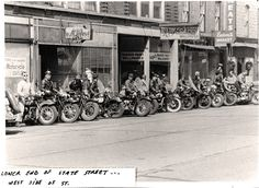 Motorcycles on State Street in Beloit, WI from 1950.  Courtesy of Beloit Historical Society.