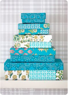How to cover boxes with pretty paper