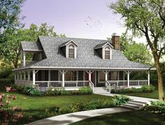 Farm Style House Plans - 1673 Square Foot Home , 2 Story, 3 Bedroom and 2 Bath, 0 Garage Stalls by Monster House Plans - Plan 68-134