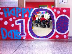 hall decor- such a cute idea for 100th day of school!