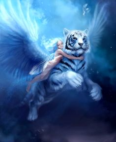 Fairy and Winged Tiger - how I would love to hold a tiger like that :-)