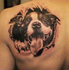 3-D Pitbull tattoo