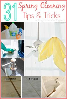31 Quick and Easy Spring Cleaning Tips-- the ceiling fan one is brilliant! #spring #cleaning #31days via www.makinglemonadeblog.com