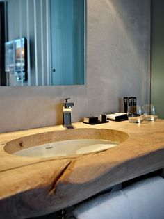 Another wood slab sink counter