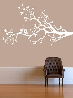 Wall Decal - white tree branch decal with birds - Wall Art Decor. $69.00, via Etsy.
