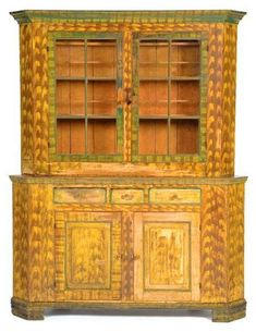 Somerset County, PA Flat Back Corner Cupboard with Plate Rails, Original Paint
