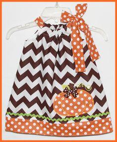 Fall Chocolate Chevron Stripe Applique Thanksgiving Pumpkin Dress. $25.00, via Etsy.