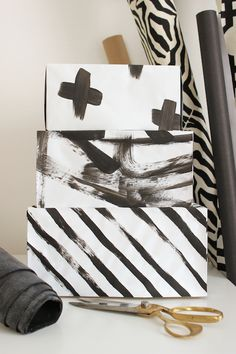 DIY abstract art storage boxes