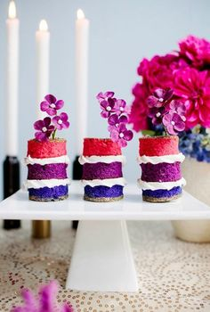 Skip the traditional cake and serve colorful mini cakes.