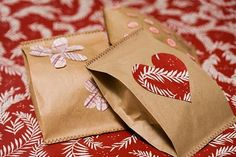 Paper bag valentines treat bags