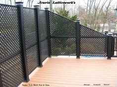 This vinyl lattice makes for perfect privacy fencing.  on Front-Porch-Ideas-and-More.com #decks